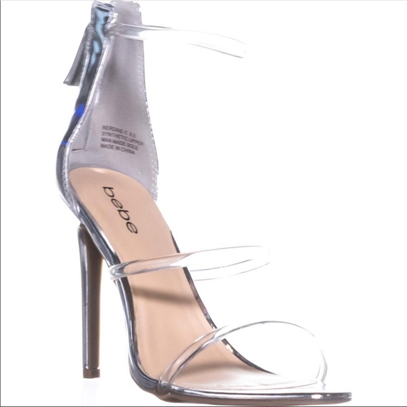 Bebe Berdine silver clear strappy heels. bebe. M 5ad833bfb7f72be99a1c96c2.  M 5acfdb0861ca106dbeffc2bd. M 5acfdb0b2ae12f4a68ef37d6